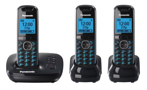 Panasonic KX-TG5523EB DECT Trio Digital Cordless Phone Set with Answer Machine - Black image