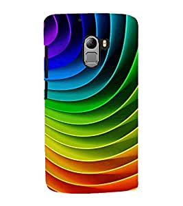 MULTICOLOURED CONCENTRIC OVERLAPPING SHEETS PATTERN 3D Hard Polycarbonate Designer Back Case Cover for Lenovo K4 Note