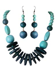 Sharnam Art Marvellous Green Color Wooden Necklace Set - SH301_8409