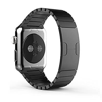 Apple Watch Band, Cbin Stainless Steel Replacement Smart Watch Band Link Bracelet with Double Button Folding Clasp for 38mm/42mm Apple Watch All Models - Black