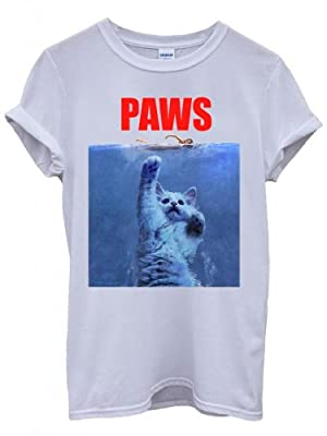 Paws Cat Kitten Meow Parody Cool White Men Women Unisex Top T-Shirt