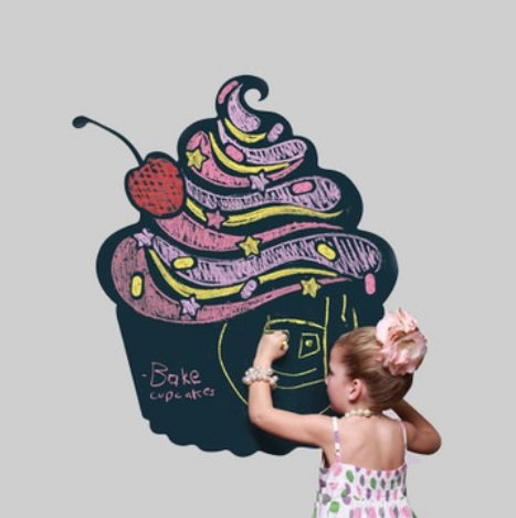 On the wall easily peelable Blackboard black Board wall seal wall sticker 4 color 5 books on chalk - 0 - chalkboard Eraser with (1 m x 45 cm)