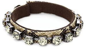 "Kenneth Cole New York ""Urban Snake"" Snake Print Large Black Diamond Bracelet"