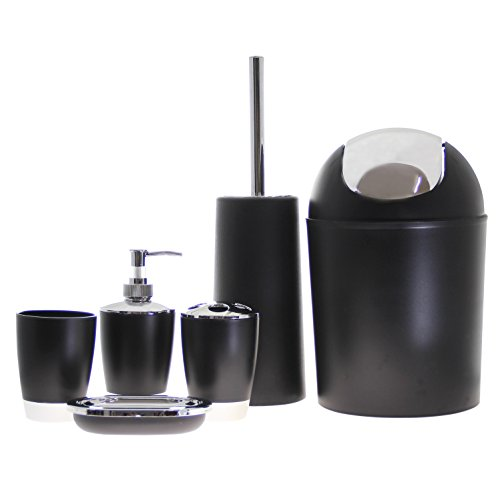 JustNile 6 Piece Bathroom Accessory Set Trendy Black Silver Home Garden Acc