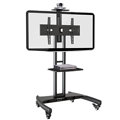 Rocelco VSTC Adjustable Height Mobile TV Stand For 32 70