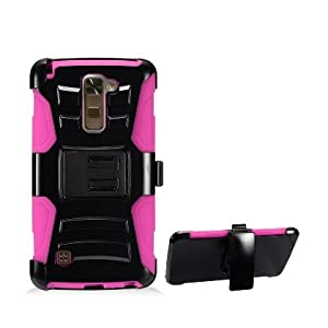 LG Stylo 2 Plus Case, IECUMIE Duo Armor Skin Protective Cover Case W/ Stand, Belt Clip, & Holster for LG G Stylo 2 Plus - Pink