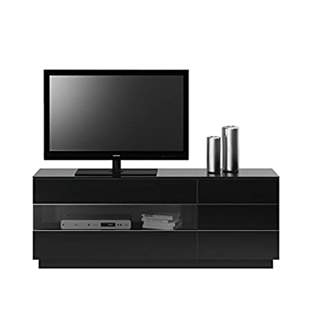Jahnke TL 6153 HG-SW T.1-2 TV-Lowboard, E1-Spanplatten, melaminharzbeschichtet, ESG-Sicherheitsglas, Metall pulverbeschichtet, Aluminium eloxiert, hochglanz / schwarz, 150 x 41,5 x 59 cm
