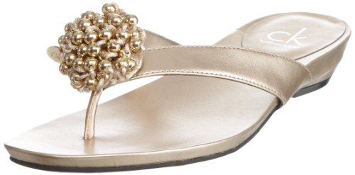 Calvin Klein Women's Yoko Metallic Gold Thong N10469 5 UK, 38 EU