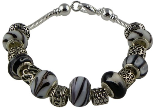 #125 Black and White Pandora Style Bead Bracelet