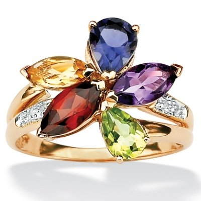 10k Gold MultiColor SemiPrecious Gemstones and Diamond Accents Womens Ring