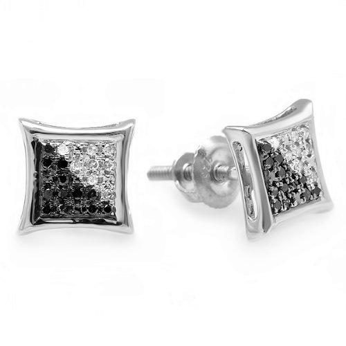 0.10 Carat (ctw) Sterling Silver White & Black Round Diamond Micro Pave Setting Kite Shape Stud Earrings