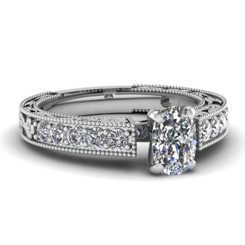 Fascinating Diamonds Admirable Channel Set Milgrain Engagement Ring 1 Ct Cushion Cut Diamond 14K Gia