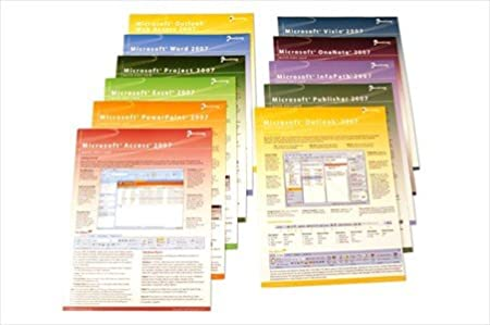 Microsoft Office 2007 Complete Quick Start Card Bundle - Bundle of 14 Handy Software Reference Guides - 1 for each Office 2007 Program: Word, Excel, Outlook, Outlook WA (Web Access), PowerPoint, Publisher, Access, Project, InfoPath, OneNote, Visio, Groove, Internet Explorer 7 & Vista - Computer Shortcuts, Cheats, Tips & Tricks Guides. 6 Pages Ea, Tri-Fold. Stores Easy.