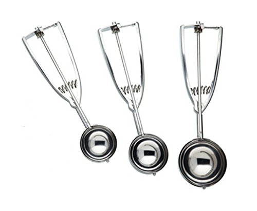 Set of 3 Durable Stainless Steel Ice Cream Scoops with Trigger Mechanism (Spring Action Ice Cream Scoop compare prices)