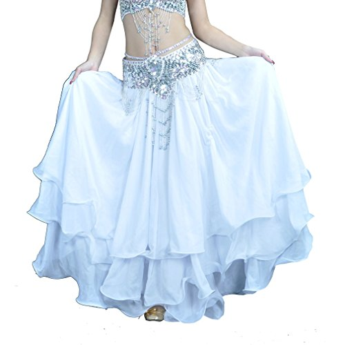 Dreamspell 2014 Big Long Chiffon Skirt, White Belly Dance Skirt