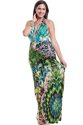 Symphony Peacock Halter Style Maxi Dress