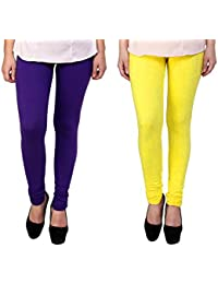 Snoogg Womens Ethnic Chic Inspired Churidar Leggings In Yellow And Purple