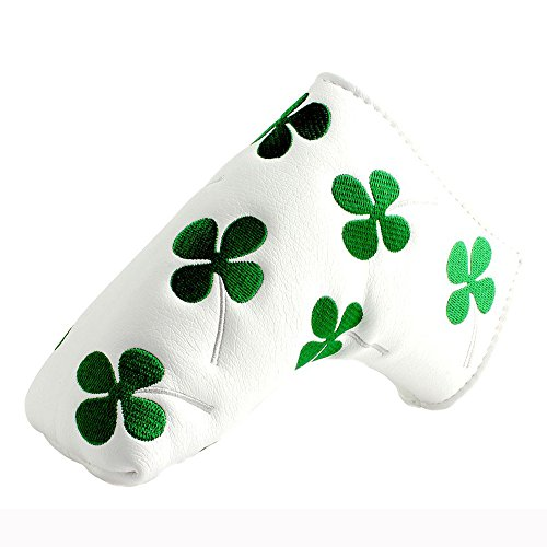 JOYRICE Craftsman Golf Green Clover Black Inside White Putter Cover Headcover For Scotty Cameron Ping blade