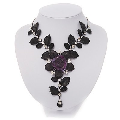 Stunning Y-Shape Mesh Black Floral Necklace With Clear Swarovski Crystals - 34cm Length (7cm extension)