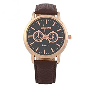 Senmar Double eyes black leather men's watch -Brown