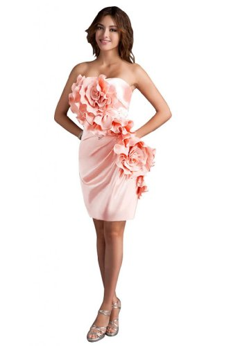41bzSXKeuwL Sale off: Emma Y Lady Womens Strapless Handmade Flower Short Dress