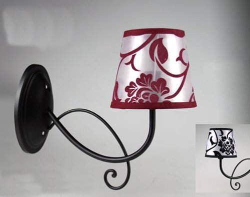 Lampada a muro applique da parete in metallo decorato nero con paralume; larghezza totale cm33; paralume fiore nero