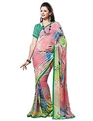 Indian Designer Sari Cute Floral Printed Faux Georgette Saree By Triveni