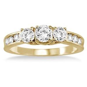 1.00 Carat Diamond Three Stone Ring in 10K Yellow Gold