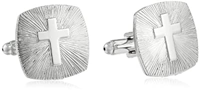 Status Men's Cuff Links Square Rounded Edges Cross