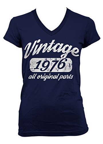40th Birthday Gift Vintage 1976 All Original Parts Junior Ladies V-neck T-shirt (Navy Blue, Small)