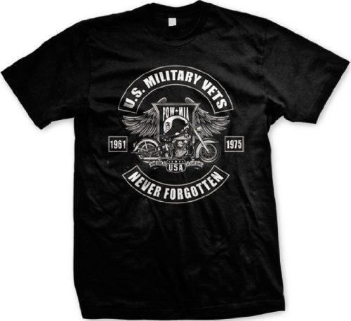 U.S. Military Vets POW MIA Mens T-shirt, 1961-1975 Never Forgotten Motorcycle Design Shirt, XXX-Large, Black