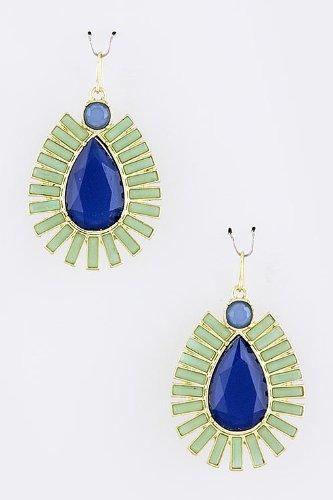 Karmas Canvas Acrylic Teardrop Jewel Earrings (Blue) front-196980