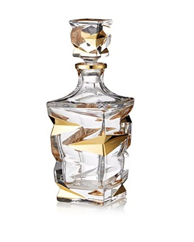A Casa K Zig Zag 30-Oz. Crystal & Gold Decanter