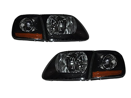 Ford F150 Black/Light smoked lens 4pc Lightning Headlights (1999 Ford F150 Lightning compare prices)