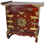 """Asian Furniture & Home Décor - 25"""" Japanese Design Tansu Style End Table Nightstand Cabinet"""