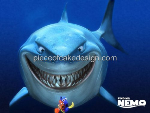 1/4 Sheet ~ Finding Nemo Shark Background Birthday ~ Edible Image Cake/Cupcake Topper!!!