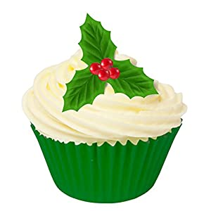 Cake Decorating Mini Holly Leaves : 12 Edible Wafer Cake Decorations: Holly Leaves & Berries ...