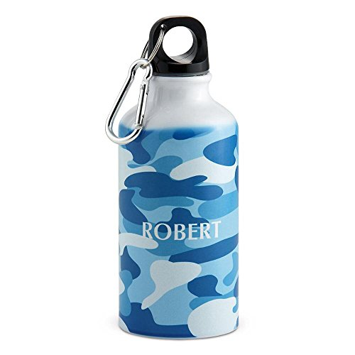 Blue Camo Personalized Kids Water Bottle - 14 oz. aluminum, 6 3/4