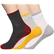 ABCS Soft Cotton Dark Grey & Red, Grey & Yellow, White & Grey Socks For Men (PACK OF 3)