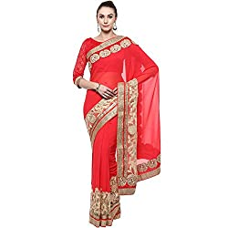 Red With Sin and Chiffon Designer Lehenga Saree