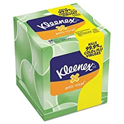 KLEENEX Anti-Viral Facial Tissue, 3-Ply, 68/Box, 27/Carton by KIMBERLY-CLARK (Catalog Category: Office Maintenance, Janitorial & Lunchroom / Bathroom Supplies)