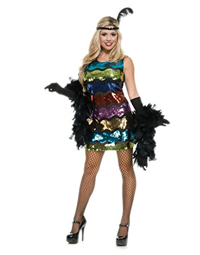 Womens Sexy Rainbow Sequin Roaring 20's Flapper Dress Costume