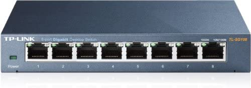 TP-Link TL-SG108 8-port Metal Gigabit Switch(10/100/1000M RJ45 ports, lüfterloses Passivkühlkonzept)