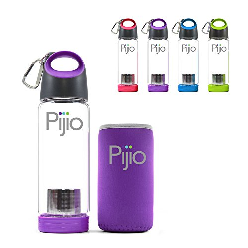 Insane Sale - Pijio Tea Infuser (Loose), Fruit Infusion, Cold Brew Coffee Maker, Infused Borosilicate Glass Water Bottle Mug. Best Travel & Sports, BPA Free (500ml 17oz) (purple) (Purple Fruit Seeds compare prices)