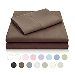 MALOUF Double Brushed Microfiber Super Soft Luxury Bed Sheet Set - Wrinkle Resistant - RV/Short Queen Size - Chocolate