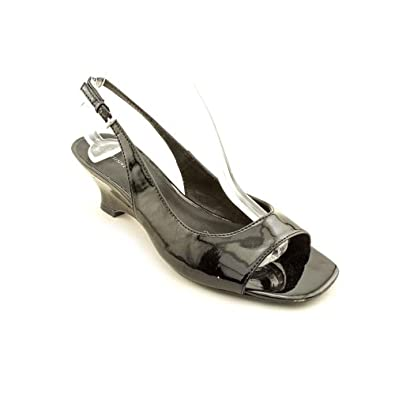 Etienne Aigner Tender Womens Size 5.5 Black Open Toe Slingbacks Shoes