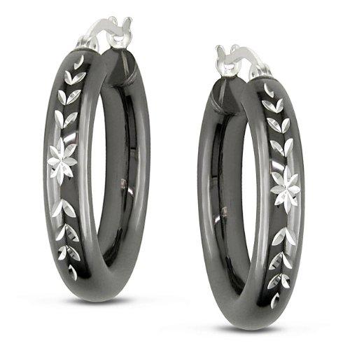 Sterling Silver Flower Design Grey Rhodium Stud Earrings