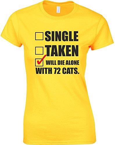 Will Die Alone With 72 Cats, T-Shirt Da Donna Con Stampa - Margherita gialla/Nero/Rosso M = 82-86cm