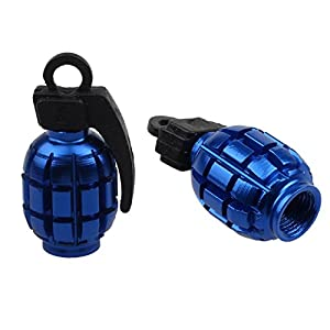 Ularmo 2PCS Grenade Alloy Valve Caps Dust Covers Bike Bicycle MTB BMX Car (blue)