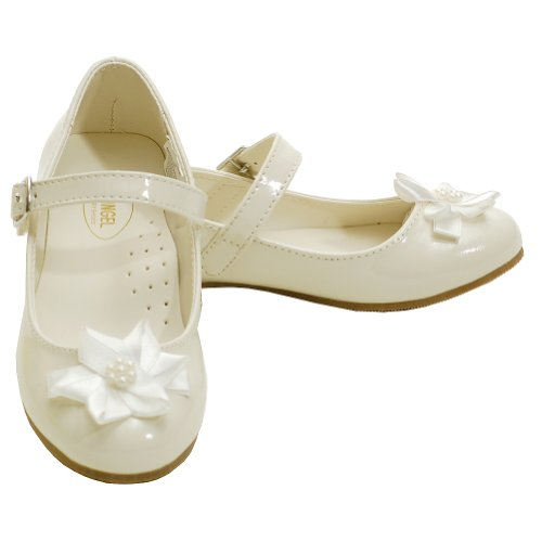 Angel Cream Patent Flower Accent Dress Shoes Toddler 5-Little Girls 4